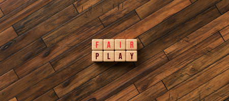 cubes with the message FAIR PLAY on wooden floor - 3D rendered illustration