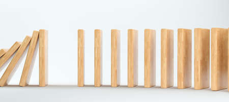 gap for a stopper between falling domino-blocks on white background - 3D rendered illustration