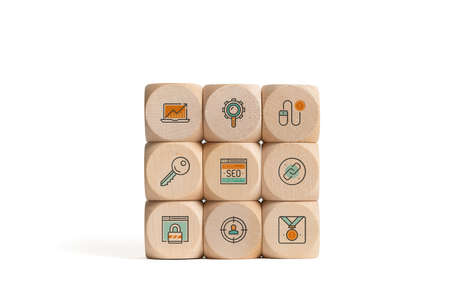 Cubes with SEO strategy icons on white background