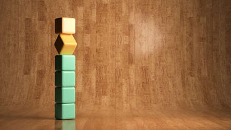 empty cubes stacked in front of wooden background - 3D rendered illustration Фото со стока