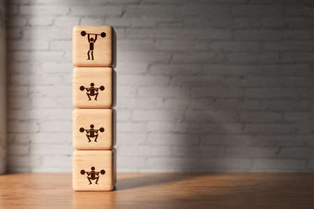 Icons on cubes symbolizing progress in weight lifting on wooden surface in front of a brick wall - 3D rendered illustration