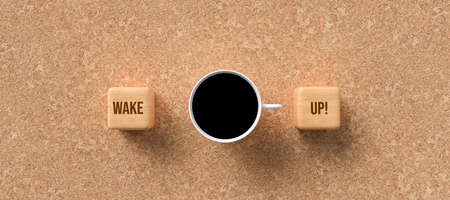 cup of coffee and cubes with text WAKE UP! on cork background - 3D rendered illustration