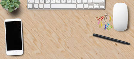 modern computer workspace on wooden background