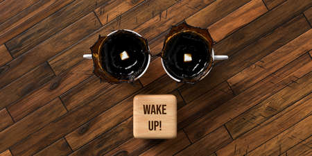 cups of coffee and cubes with text WAKE UP on wooden background - 3D rendered illustration 写真素材