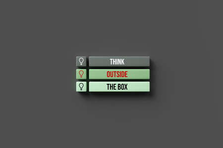 boxes with text THINK OUTSIDE THE BOX on colorful background - 3d rendered illustration 写真素材