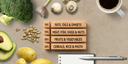 many cooking ingredients on concrete background