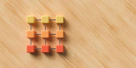 cube grid on wooden background symbolizing network nodes in different states - 3D rendered illustration