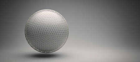 protective hexagon grid around a white sphere - 3D rendered illustration