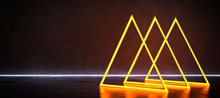 abstract neon light installation on concrete floor - 3D rendered illustration
