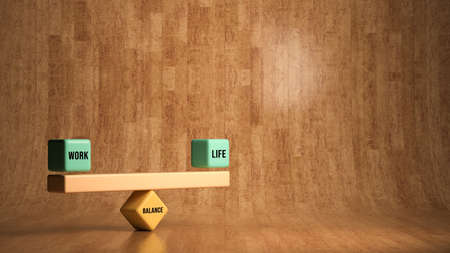 cubes forming scale with the words WORK, LIFE and BALANCE on wooden background - 3d rendered illustration