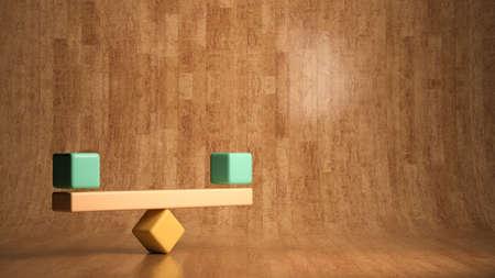 blocks forming a scale on wooden background - 3D rendered illustration Standard-Bild