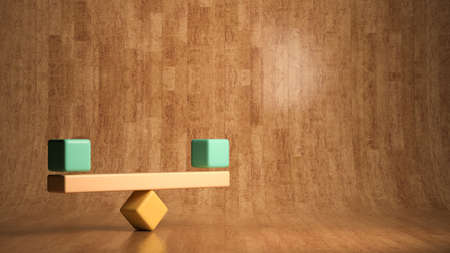 blocks forming a scale on wooden background - 3D rendered illustration