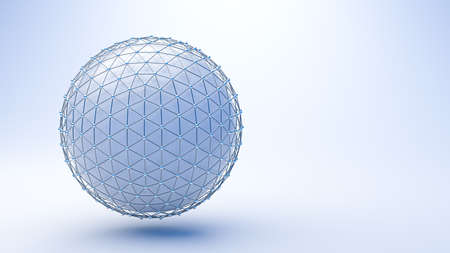 protective grid around a blue sphere on blue background - 3D rendered illustration