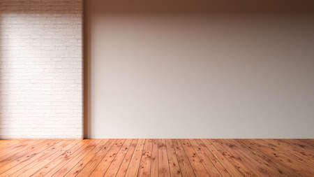 empty apartment with wooden floor - 3D rendered illustration