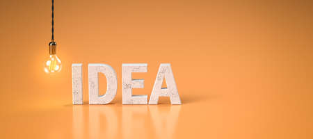 lightbulb and word IDEA on colorful background - 3D rendered illustration 写真素材