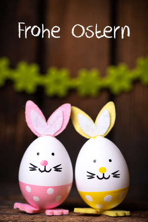 Easter Eggs with bunny ears and message
