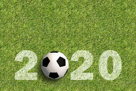 number 2020 on green grass background with a soccer ball as the first zero - 3D rendered illustration