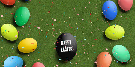 Easter Eggs with message HAPPY EASTER on grass background