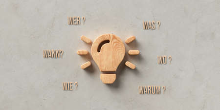 wooden lightbulb on concrete background with the German words for WHEN, WHAT, WHERE, WHO, WHY and HOW - 3D rendered illustration