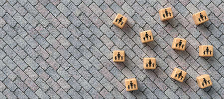 cubes with daycare icons on stone pavement background - 3D rendered illustration