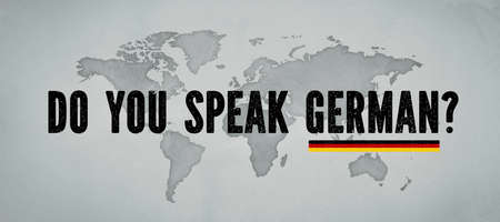 world map and message DO YOU SPEAK GERMAN? 免版税图像