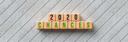cubes with message 2020 CHANCES on wooden background - 3d illustration Banque d'images