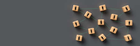 ubes with people symbols and connections between them on grey background - 3d illustration