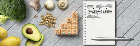 many cooking ingredients and a healthy plan on wooden background