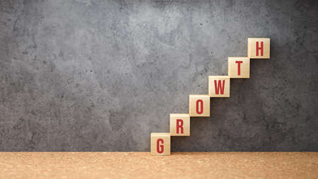 wooden blocks as a stair with the word GROWTH on concrete background - 3d illustration