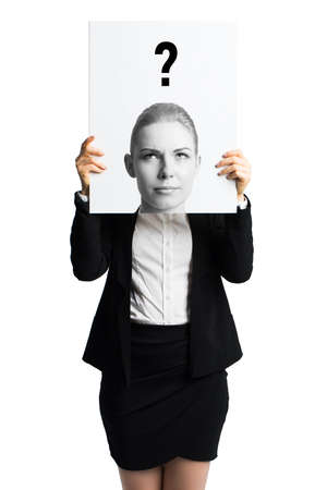 businesswoman in front of white background holding sheet of paper with a picture of her thinking in front of her head