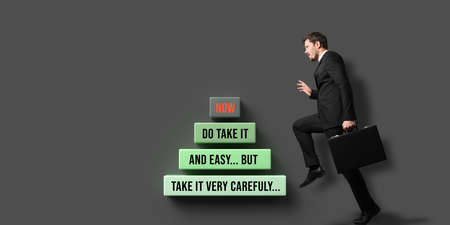 businessman climbing career letter step by step on colorful background