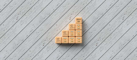 cubes forming a stair with people symbols and message STEP BY STEP wooden background - 3d illustration
