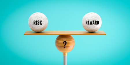 wooden scale balancing one big ball and four small ones with message RISK, REWARD and a questionmark on grey-blue background - 3d illustration Standard-Bild