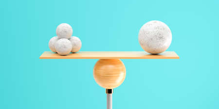 wooden scale balancing one big ball and four small ones on light blue background - 3d illustration