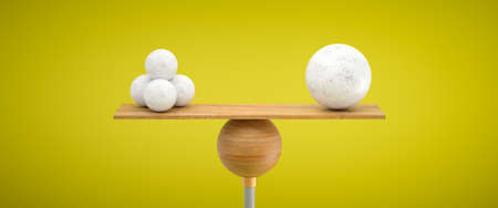 wooden scale balancing one big ball and four small ones on colorful background - 3d illustration