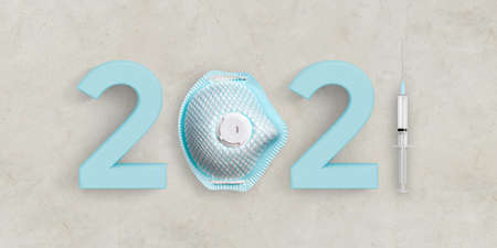 message 2021 with a face mask and a syringe on concrete background
