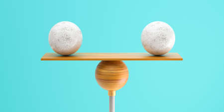 wooden scale balancing two big balls on grey background - 3d illustration