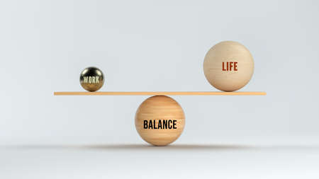 wooden scale balancing spheres with text WORK, LIFE and BALANCE on white background - 3d illustration Standard-Bild