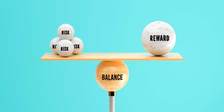 wooden scale balancing one big ball and four small ones with message RISK, REWARD and BALANCE on light blue background - 3d illustration