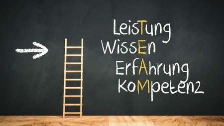 ladder on wooden flloor leaning against a blackboard with a crossword in German with the words PERFORMANCE, KNOWLEDGE, EXPERIENCE, QUALIFICATION resolving into the word TEAM - 3d illustration 版權商用圖片