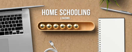 stylized loading bar with text HOME SCHOOLING LOADING surrounded by a notebook, laptop and a pen on paper background 版權商用圖片