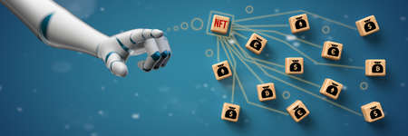 robot hand starting a NFT auction in front of blue background - 3d illustration 版權商用圖片