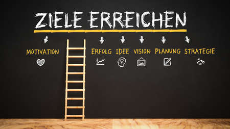 wooden ladder leaning at a blackboard leading to the German word for ACHIEVE GOALS and a checklist with the German words MOTIVATION, SUCCESS, IDEA, VISION, PLANNING and STRATEGY - 3d illustration