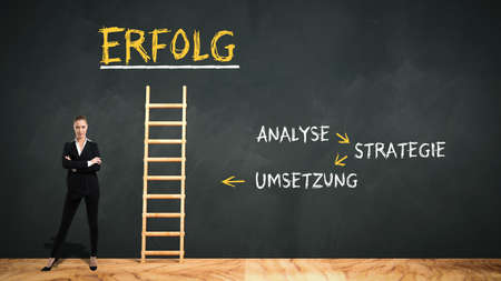 businesswoman in front of a blackboard with a ladder leading to the German word for SUCCESS and prerequisites in German ANALYSIS, STRATEGY, IMPLEMENTATION