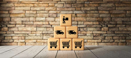 cubes with shopping icons on wooden background - 3d illustration