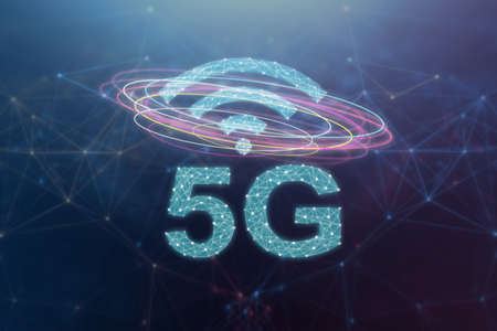 5G telecommunication concept with an abstract network illustration on blue background
