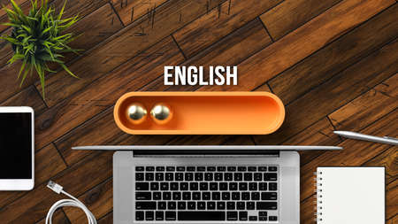 stylized loading bar with the word ENGLISH and office equipment on wooden background