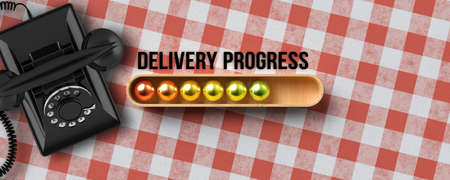 stylized loading bar with text DELIVERY PROGRESS next to a vintage telephone on kitchen table background - 3d illustration 版權商用圖片