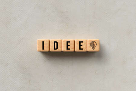 wooden cubes with German message for IDEA on paper background - 3d illustration