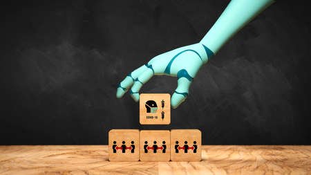 robot hand adding a cube with a person in a face mask symbol to a stack of cubes with person symbols in front of a blackboard - 3d illustration